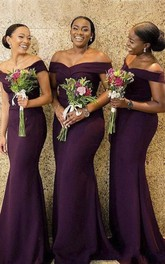 Jersey Sexy Elegant Off-the-shoulder Mermaid Bridesmaid Dress With Ruching
