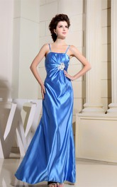 Sleeveless Spaghetti-Straps Satin Sheath Gown with Beaded Sash and Zipper Back