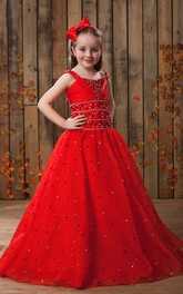 Flamboyant Beaded A-Line Flower Girl Dress With Sequins
