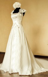 Square Cap Illusion Back A-Line Satin Wedding Dress With Sash And Lace