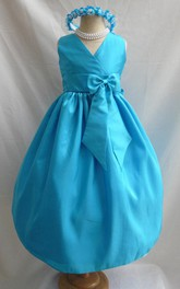 Sleeveless Flower Girl Turquoise Junior Bridesmaid Dress