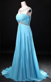 Scoop Neckline Chiffon Dress With Beading