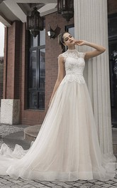 High Neck Cap Sleeve Vintage Lace Tulle Bridal Gown With Button Back