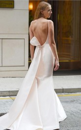 Satin Bateau-neck Open Back Trumpet Wedding Dress