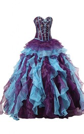 Sweetheart A-line Ball Gown With Ruffles and Appliques
