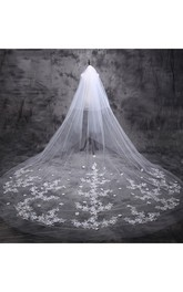 Ethereal Cathedral Wedding Veil with Lace and Flower Appliques