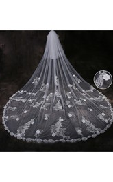 2018 Ethereal Cathedral Tulle Wedding Veil with Lace Edge and Flower Appliques