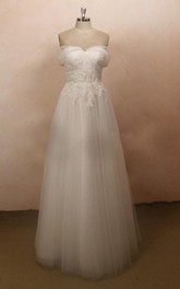 Cap Sleeve Tulle Lace Satin Weddig Dress With Beading
