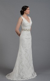 Elegant V-Neck Long Lace Wedding Gown With Beading