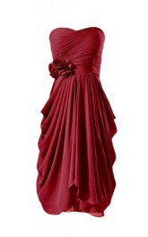 Strapless Short Ruched Chiffon Dress With Flower