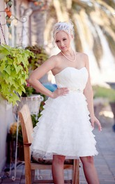 Sweetheart Organza Wedding Dress With Sash Crystal Detailing And Tiers