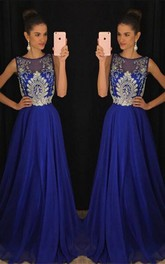 Gorgeous Dark Royal Blue Sleeveless 2018 Evening Dresses Long Chiffon With Appliques Beadings