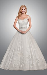 Royal Lace Beaded-Waist Ball Gown Wedding Dress