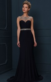 Cap Sleeve Jewel Neck Beaded Jersey Evening Dress