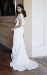 Illusion Beaded Sleeves Plunging V-neck Elegant Sheath Wedding Dress With Court Train