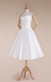 Sweetheart Tea-Length Satin Wedding Dress With Lace-Up Back