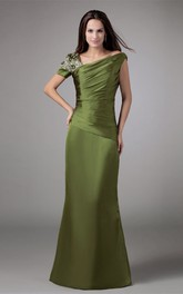 Asymmetrical Taffeta Mermaid Gown with Ruching and Rhinestone