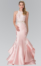 Mermaid Long Jewel-Neck Sleeveless Satin Dress With Appliques And Draping