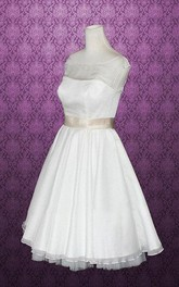 Bateau Knee-Length Satin Wedding Dress With Sash And Cap Sleeve