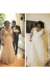 A Line Plus Size Lace Appliques Top Illusion Long Sleeves Bridal Gown with Pearls