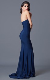 Ambitious Sleeveless Trumpet Long Jersey Dress With Zipper Back