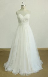 A-Line Tulle Sweetheart Lace Dress With Bow And Sweep Train