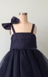 Strapped Tulle&Satin&Taffeta Dress With Flower