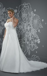 A-Line Long Sweetheart Sleeveless Satin Criss Cross Beading Court Train Corset Back Beading Dress