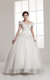 Off-The-Shoulder A-Line Ball Gown with Beading and Floral Waist