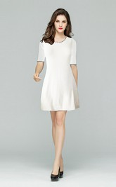 White Scalloped Neckline A-Line Dress