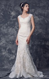 Cap Sleeve Mermaid Long Lace Wedding Dress with Illusion Back