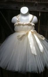 Strapped Tulle&Satin Dress With Flower&Sash Ribbon