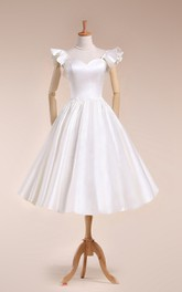 Scalloped Tea-Length Satin Wedding Dress With Pleats And Bell Sleeve
