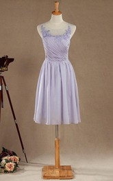 A-line Mini Tea-length Chiffon&Lace&Satin Dress