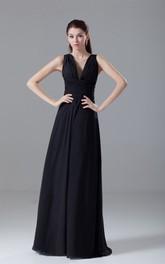 Strapped Chiffon Maxi Dress with Ruching and Low-V Back