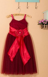 Spaghetti Strapped Tulle Dress With Flower Satin Sash Ribbon