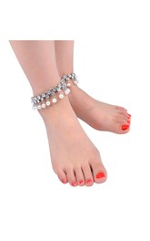 Summer Beach Simple Fashion Anklet Drops Diamond Pearl Tassel Tassel