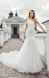 Elegant Off-the-shoulder Short Sleeve Wedding Dress with Chapel Train