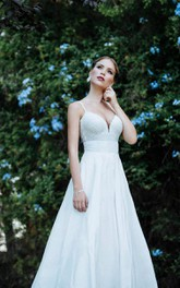 Low Neck Spaghetti Strap Long A-Line Taffeta Wedding Dress With Lace