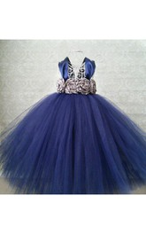 Navy Cap Sleeve Flower Bust Empire Pleated Ball Gown Flower Girl Dress