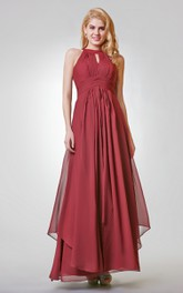 Halter Empire Long Bridesmaid Dress