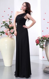 Impressive Ruched Maxi Asymmetrical One-Shoulder Dress