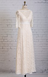 Column Illusion Neck Half-sleeved V-back Floor-length Lace Dress