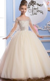 Tulle Scoop Long Sleeve Ball Gown Flower Girl Dress with Beading