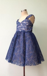 Navy Blue strapped Lace Flower Girl Dress With Pleated