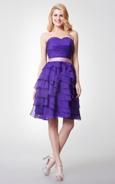 Strapless Ruched Ruffled Short Chiffon Dress With Satin Bow Belt