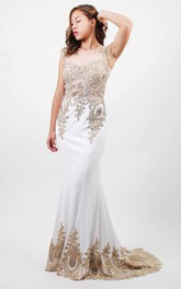 Sheath Bateau Sleeveless Jersey Illusion Dress With Beading