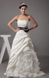 Strapless Ruched A-Line Dress with Bow and Cascading Ruffles