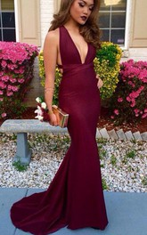 Trumpet V Neck Sleeveless Sweep Brush Train Satin Dress