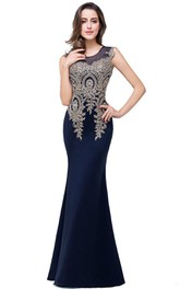 Satin Floor-length Mermaid Dress with Lace Detail